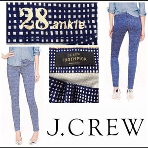 J. Crew Toothpick Basketweave Ankle Jeans